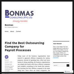 Find the Best Outsourcing Company for Payroll Processes – Bonmas