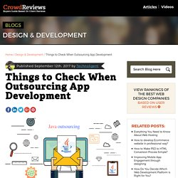 Things to Check for successful outsourcing app development business