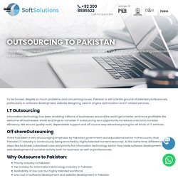 Outsourcing to Pakistan, IT Outsourcing - Soft Solutions