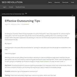 Effective Outsourcing Tips