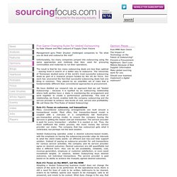 Five Game-Changing Rules for Vested Outsourcing - Opinion - outsourcing - sourcingfocus.com