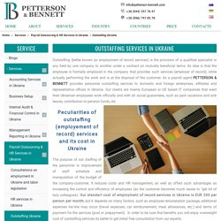 Outstaffing services in Ukraine with employer of record PETTERSON & BENNETT