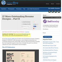 27 More Outstanding Resume Designs – Part II at DzineBlog