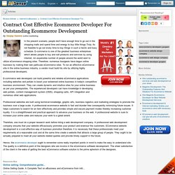 Contract Cost Effective Ecommerce Developer For Outstanding Ecommerce Development by Sanjay Saxena