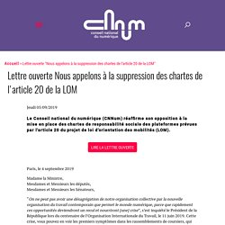 Lettre ouverte Nous appelons à la suppression des chartes de l'article 20 de la LOM