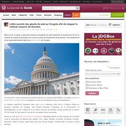 Lettre ouverte des géants du web au Congrès afin de stopper la collecte massive de données
