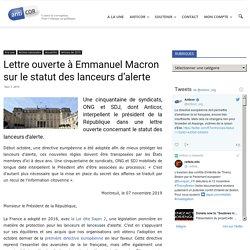 Lettre ouverte à Emmanuel Macron sur le statut des lanceurs d'alerte