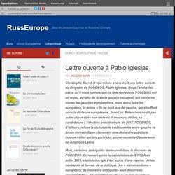 Lettre ouverte à Pablo Iglesias – RussEurope