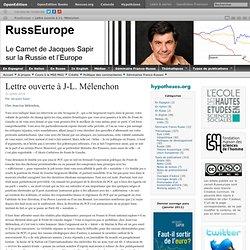 Lettre ouverte à J-L. Mélenchon