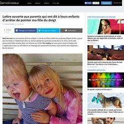 Lettre ouverte aux parents qui ont dit à leurs enfants d'arrêter de pointer ma fille du doigt