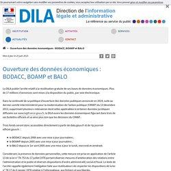 Ouverture des données économiques : BODACC, BOAMP et BALO - DILA