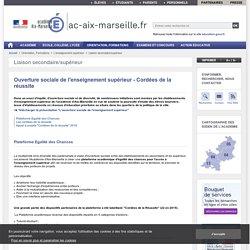 Ouverture sociale de l'enseignement supérieur - Cordées de la réussite - ac-aix-marseille.fr