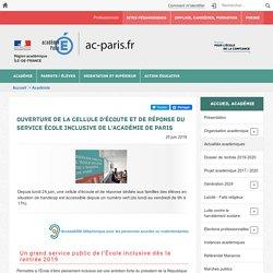Ouverture de la Cellule d'écoute et de réponse du service École inclusive de l'académie de Paris