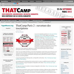 ThatCamp Paris 2 : ouverture des inscriptions | ThatCamp Paris