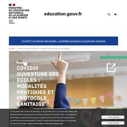 Covid19 Ouverture des Ecoles : modalités pratiques et protocole sanitaire