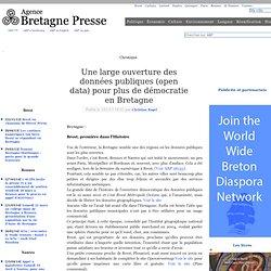 Une large ouverture des données publiques (open data) pour plus de démocratie en Bretagne
