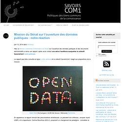 Mission du Sénat sur l'ouverture des données publiques : notre réaction