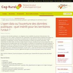 L'open data ou l'ouverture des données publiques : quel intérêt pour les territoires ruraux ?