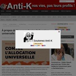 À propos de l'ouvrage Contre l'allocation universelle (M.Alaluf, D. Zamora, dir.) - Anti-K