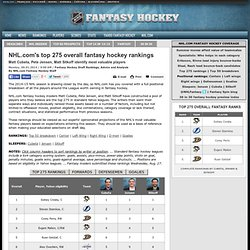 s top 275 overall fantasy hockey rankings for 2014-15 NHL season - Fantasy Hockey Draft Rankings, Advice and Analysis