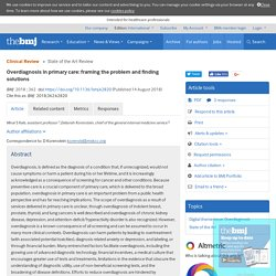 Overdiagnosis in primary care: framing the problem and finding solutions