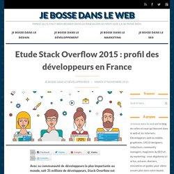 Etude Stack Overflow 2015 : profil des développeurs en France