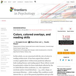 Colors, colored overlays, and reading skills