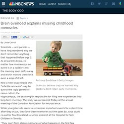 Brain overload explains missing childhood memories