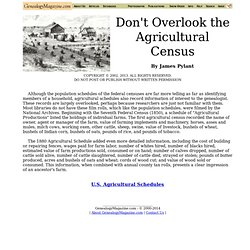 Don't Overlook Agricultural Census
