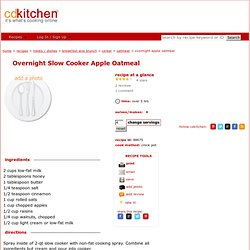 Overnight Apple Oatmeal Crockpot Recipe from CDKitchen