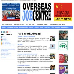 Gap Year, Seasonal Work, Working Holidays & Jobs Abroad
