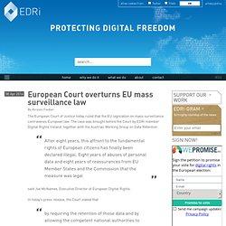 European Court overturns EU mass surveillance law