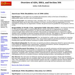 overview idea section 504 and ada H14: comparison of the individuals with disabilities education act (idea '04), section 504 of the rehabilitation act (section 504), the americans with disabilities act (ada), and the elementary and secondary education act (also known as no child left behind act of 2001 – nclb '01.