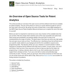 An Overview of Open Source Tools for Patent Analytics – Open Source Patent Analytics – A work in progress home for the WIPO Open Source Patent Analytics Manual