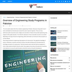 Overview of Engineering Study Programs in Pakistan - The Best Education Programs