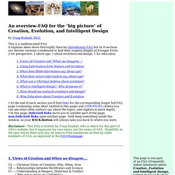 An Overview-FAQ for Creation, Evolution, and Intelligent Design
