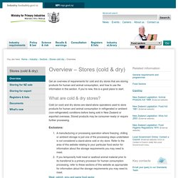 Overview of Stores (cold & dry)
