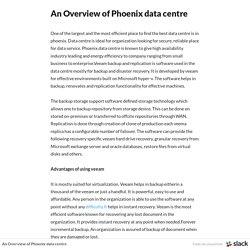 An Overview of Phoenix data centre