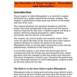 An Overview of Nasal Surgery – Procedure and Alternative