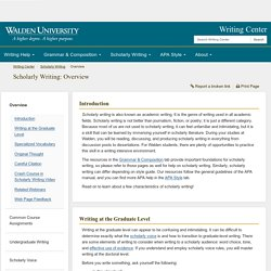Overview - Scholarly Writing