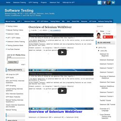 Overview of Selenium WebDriver