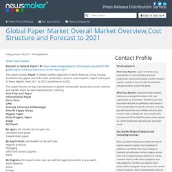 Global Paper Market Overall Market Overview,Cost Structure and Forecast to 2021
