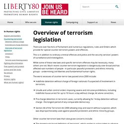 Overview of terrorism legislation