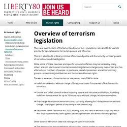 Overview of terrorism legislation
