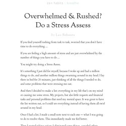 Overwhelmed & Rushed? Do a Stress Assess