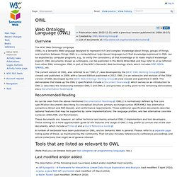 Web Ontology Language OWL / W3C Semantic Web Activity