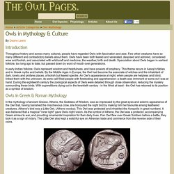 Owls in Mythology & Culture - The Owl Pages