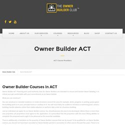 Owner Building Course in ACT - Owner Builder Club