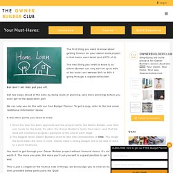 Get Advice on Owner Builder Construction Loan - The Owner Builder Club