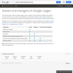 Owners and managers on Google+ pages - Google+ Help